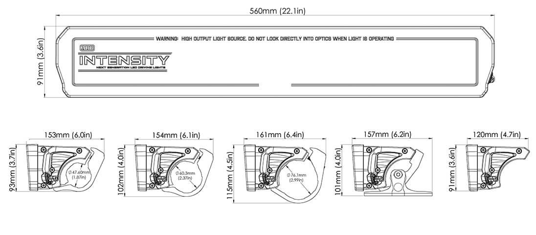 ARB INTENSITY(インテンシティ)LEDライトバーAR40 寸法図